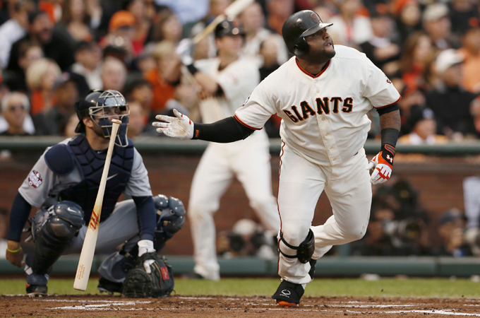 Don't tell Pablo Sandoval that HRs are less plentiful in the postseason. (Photo: Reuters)